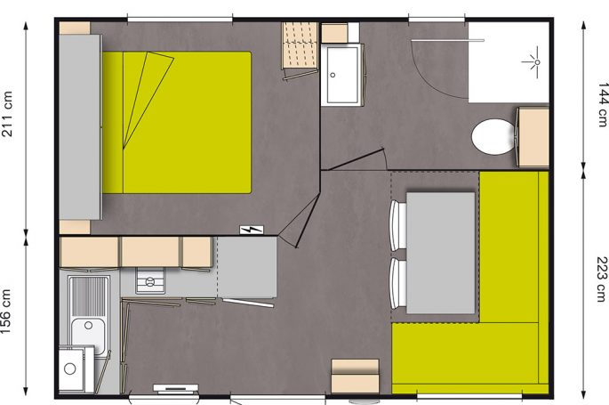 Plan Mobil-home Confort 1 chambre