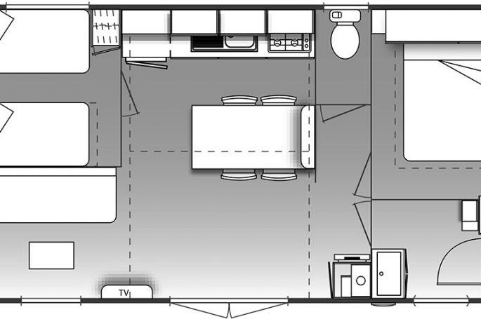 Plan du Mobil-home Confort plus 2 chambres