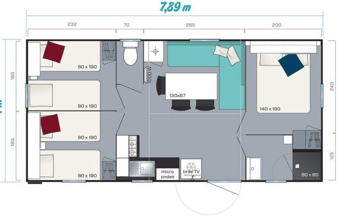 Plan du Mobil-home Premium 3 chambres