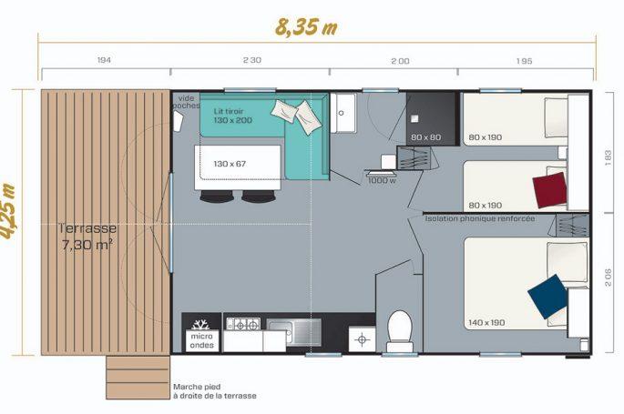 Plan du Mobil-home Premium 4/6 personnes