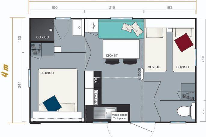 Plan du Mobil-home Premium 2 chambres 4 personnes